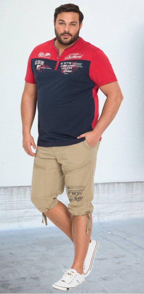 Homme - T-shirt style 2 en 1 - bleu foncé/rouge