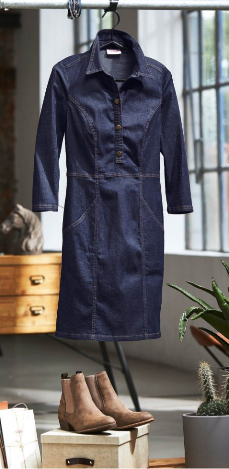 Femme - Robe en jean, manches 3/4 - bleu foncé