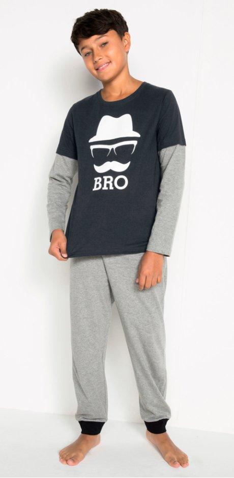 Enfant - Pyjama (Ens. 2 pces.) - gris clair chiné/noir