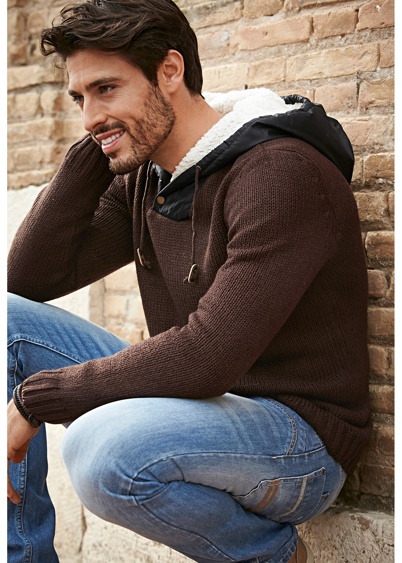 Pull à capuche Regular Fit, John Baner JEANSWEAR, marron foncé