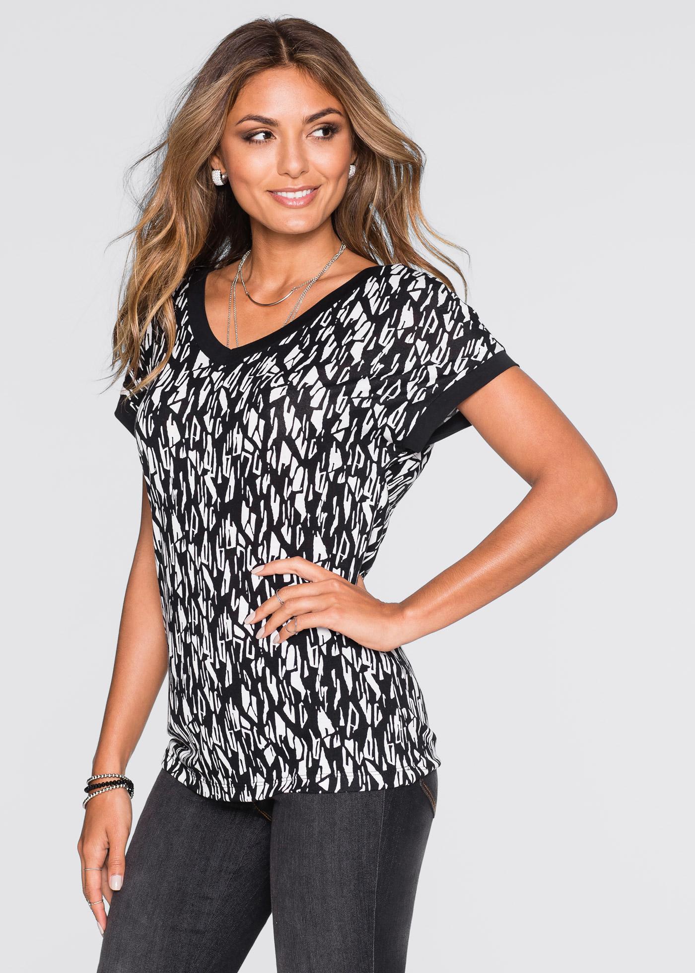 T-shirt, BODYFLIRT, noir/blanc imprimé losanges