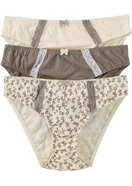 Lot de 3 slips, bpc bonprix collection, imprimé+taupe+champagne