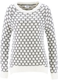 Pull, bpc bonprix collection, blanc cassé/gris chiné