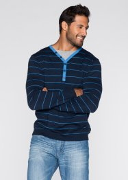 Pull 2en1 Regular Fit, bpc bonprix collection, bleu foncé rayé