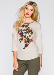 T-shirt manches 3/4, RAINBOW, beige/noir chiné