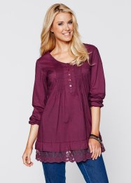 Blouse-tunique manches longues, bpc bonprix collection, prune
