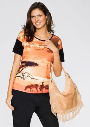 T-shirt, BODYFLIRT, orange imprimé