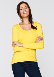 T-shirt extensible manches longues, bpc bonprix collection, jaune tulipe