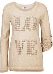 T-shirt strass manches longues, John Baner JEANSWEAR, beige