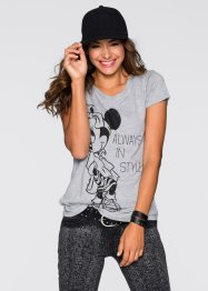 T-shirt Minnie Mouse, Disney, gris clair chiné imprimé