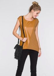 T-shirt avec simili cuir, RAINBOW, marron
