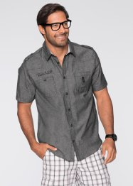 Chemise manches courtes Regular Fit, bpc bonprix collection, gris chiné