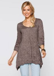 T-shirt long froissé manches 3/4, bpc bonprix collection, marron moyen