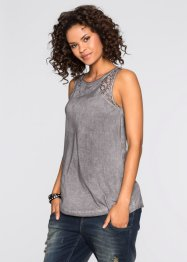 Top à empiècements dentelle, RAINBOW, gris foncé washed
