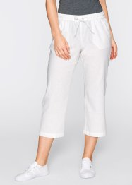 Pantalon 3/4 lin, bpc bonprix collection, blanc