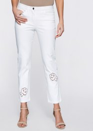 Pantalon 7/8 extensible avec broderie à trous, bpc selection, blanc