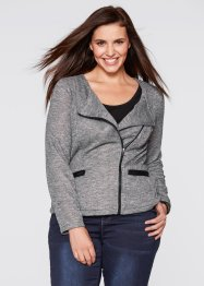 Veste sweat-shirt style biker, bpc bonprix collection, anthracite chiné