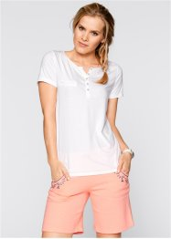 T-shirt col Henley, manches courtes, bpc bonprix collection, blanc