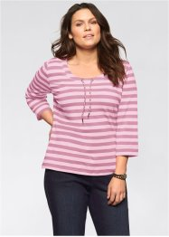 T-shirt extensible rayé manches 3/4, John Baner JEANSWEAR, rose rayé