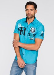 Chemise manches courtes Slim Fit, RAINBOW, turquoise