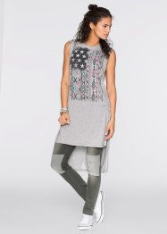 T-shirt long, RAINBOW, gris clair chiné