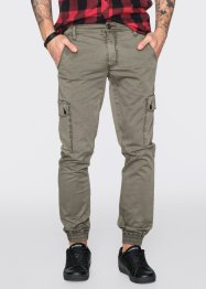 Pantalon cargo extensible Slim Fit Straight, RAINBOW, olive foncé