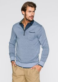 Pull col en V Regular Fit, bpc bonprix collection, bleu clair chiné