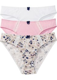 Lot de 3 slips, bpc bonprix collection, imprimé+rose+blanc cassé