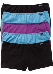 Lot de 5 culottes en coton bio, bpc bonprix collection, noir/gris bleu/violet