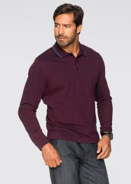 Polo manches longues Regular Fit, bpc selection, bordeaux chiné