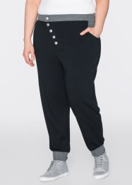 Pantalon sarouel sweat longueur 7/8, bpc bonprix collection, bleu azur chiné