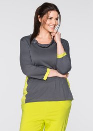 T-shirt manches 3/4, bpc bonprix collection, gris ardoise/vert citron