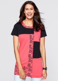 T-shirt long, mi-manches, bpc bonprix collection, noir/fuchsia clair imprimé