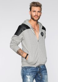 Gilet sweat biker Slim Fit, RAINBOW, gris clair chiné