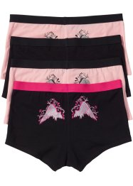 Lot de 4 boxers femme, bpc bonprix collection, noir/rose imprimé