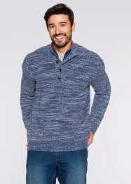 Pull avec patte de boutonnage Regular Fit, John Baner JEANSWEAR, rouge érable à motif
