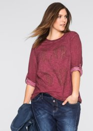 T-shirt strass manches longues, John Baner JEANSWEAR, bordeaux