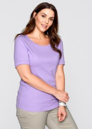 T-shirt col rond demi-manches, bpc bonprix collection, lilas