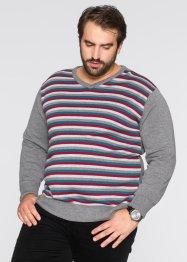 Pull col en V Regular Fit, bpc bonprix collection, anthracite chiné rayé