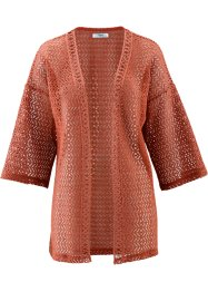 Kimono au crochet manches 3/4, bpc bonprix collection, cannelle