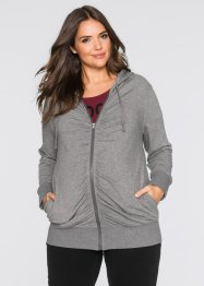 Veste sweat de grossesse avec fronces, bpc bonprix collection, gris chiné
