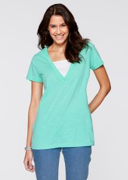 T-shirt long 2 en 1, bpc bonprix collection, bleu menthol