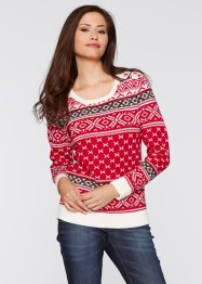 Pull, bpc bonprix collection, rouge à motif