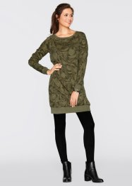 Robe sweat-shirt, bpc bonprix collection, vert kaki imprimé