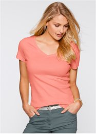 T-shirt manches courtes col en V, bpc bonprix collection, rose saumon