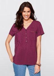 Blouse en viscose demi-manches, bpc bonprix collection, prune