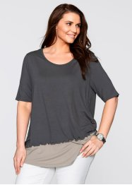 T-shirt 2en1 demi-manches, bpc bonprix collection, gris ardoise