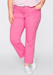 Pantalon 7/8 extensible style destroyed, bpc bonprix collection, rose flamant