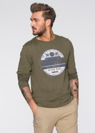 T-shirt manches longues Slim Fit, RAINBOW, olive chiné