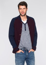 Gilet en maille Regular Fit, bpc bonprix collection, bleu/bordeaux chiné
